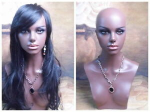 2018 Black Female Realistic Mannequin Head Bust For Lace Wig And Jewelry Display