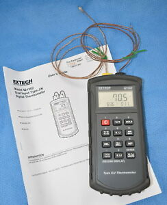 Extech 421502 Type J k Dual Input Thermometer With Alarm W Probes