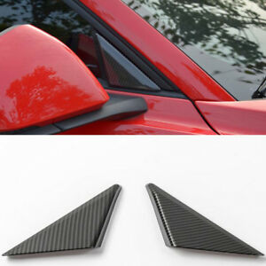 Carbon Fiber Interior Front Door Triangle Cover Trim For Ford Mustang 2015 18