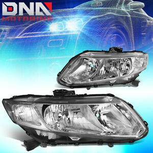 For 2012 2015 Honda Civic Chrome Housing Clear Corner Headlight lamp Left right