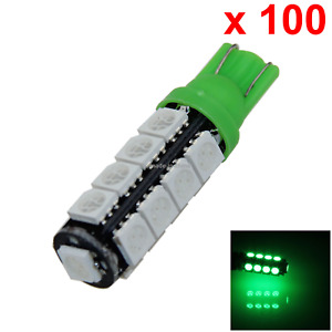 100x Green Auto T10 W5w Interior map dome Light 17 5050 Smd Led A014