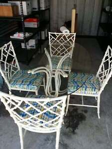 Rare Phyllis Morris Faux Bamboo White Chinese Chippendale Dining Chairs