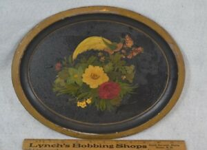Antique Tole Tin Tray Toleware 12 In Hand Painted Bird Flowers Original 1800