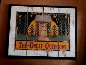 Great Outdoors Country Primitive Outhouse Lodge Moon Bathroom 10x13 Wood Sign