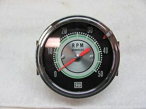 Stewart Warner 5k Green Line Tachometer 1964 Brass Can Cable Driven Vgc