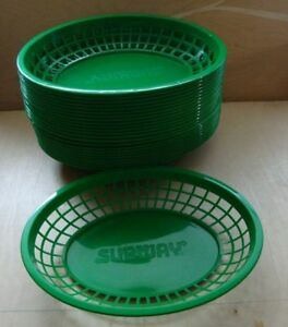 24 Jumbo Oval Plastic Fast Food Diner Basket Reusable Fries Burgers Subway