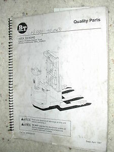Bt Prime Mover Wsx 22 30 40 Parts Manual Book Catalog Electric Forklift Truck