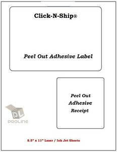 500 Laser ink Jet Labels Click n ship With Peel Off Receipt perfect For Usps