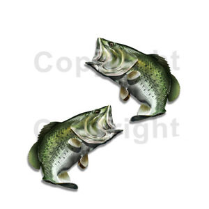 Largemouth Bass Sticker Decal Fishing Boat Car Truck Camper Trailer F029 2 Pack