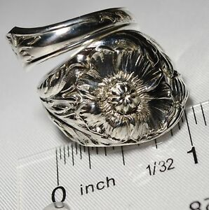 Rare Watson Orchid Antique Sterling Spoon Ring Heavy Free Shipping
