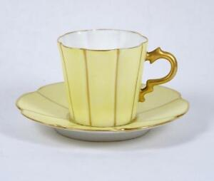 Antique Hand Painted Demitasse Tea Cup Yellow Multi Lobed Bone China Signed
