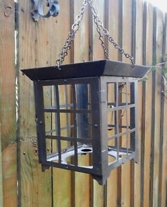 Old Reclaim Weathered Copperized Metal Hanging Hall Porch Lantern Ceiling Light
