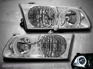 2000 2001 Toyota Camry Headlights Chrome Clear Halo Rim Lamps New
