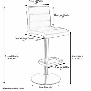 Adjustable Seat Height Swivel Armless Bar Stool Commercial Furniture Chair