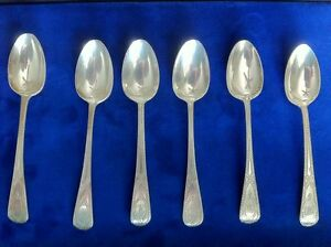 Antique English Victorian Sterling Silver Hallmarked Demi Tasse Spoons Lot Of 6