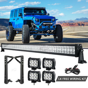 For 2007 2018 Jeep Wrangler Jk 52 Led Light Bar 4x 4 Lamps mount Bracket