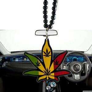 Jdm Cannabis Leaf Car Rearview Mirror Hanging Charm Dangling Pendant Ornament