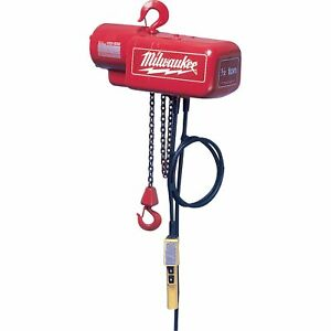 Milwaukee Electric Chain Hoist 1 ton Capacity 20ft Lift Model 9568