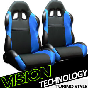 Ts Sport Blk blue Cloth Fabric Reclinable Racing Bucket Seats W sliders Pair V07