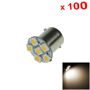 100x Warm White Car 1156 Stop Light Instrument Blub 6 5050 Smd Led 1073 7527 D01