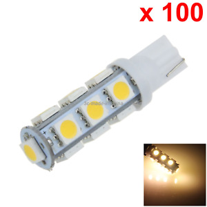 100x Warm White Auto T10 W5w Wedge Light Parking Bulb 13 5050 Smd Led A012