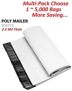 1 5000 Multi Pk 12x15 5 White Poly Mailers Shipping Envelopes Self Sealing Bags