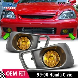 For Honda Civic 99 00 Factory Replacement Fit Fog Lights Wiring Kit Yellow Lens