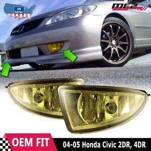 For Honda Civic 04 05 Factory Replacement Fit Fog Lights Wiring Kit Yellow Lens