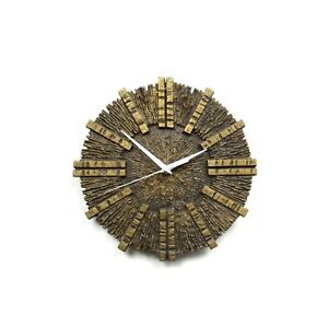 Rare German Vintage Heavy Made Bronze Cast Brutalist Wall Clock Mid Century 60s