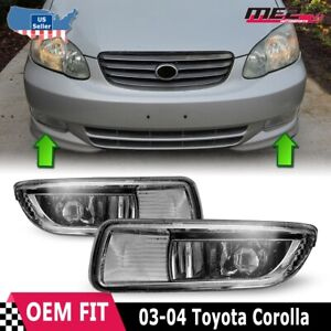 For Toyota Corolla 03 04 Factory Bumper Replacement Fit Fog Lights Clear Lens