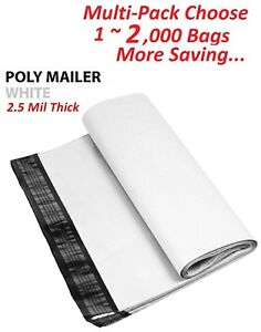1 2000 Multi Pk 14 5x19 White Poly Mailers Shipping Envelopes Self Sealing Bags