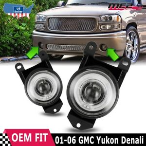 00 06 Gmc Yukon Denali Factory Replacement Fit Halo Fog Lights Clear Lens