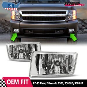 For Chevy Silverado 07 15 Factory Bumper Replacement Fit Fog Lights Clear Lens