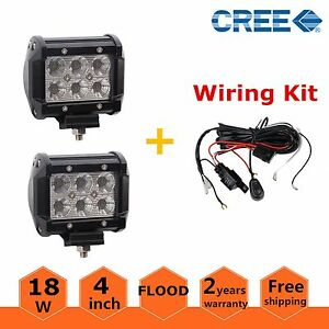 2x 4inch 18w Cree Led Work Light Bar Flood Offroad Fog Lamp Boat With Wiring Kit