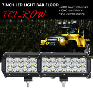 2x 6 Inch 180w Cree Led Work Light Bar Flood Offroad For Jeep 4wd Pickup Fog 7