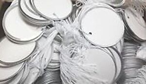 Metal Rim Tags Round 1 7 8 Inches White With String Attached Case Of 4 Boxes