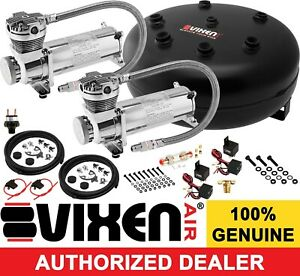 4 Galon Pancake Air Tank dual 200psi Chrome Compressor Kit Car truck Suspension