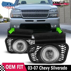 For Chevy Silverado 03 07 Replacement Halo Projector Fog Lights Dot Clear Lens