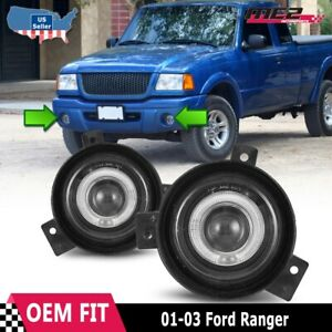For Ford Ranger 01 03 Factory Replacement Halo Projector Fog Lights Clear Lens