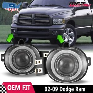 For Dodge Ram 02 09 Factory Replacement Halo Projector Fog Lights Clear Lens