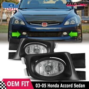 For Honda Accord 03 05 Factory Replacement Fit Fog Lights Wiring Kit Clear Lens