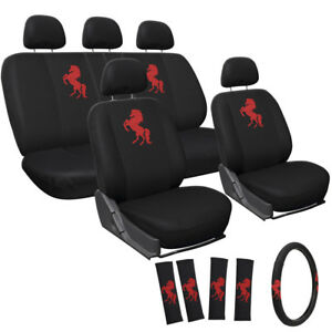 17pc Red Wild Horse Bucket Low Back Front Suv Full Seat Cover Set