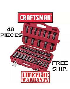 new Craftsman 48 Piece Impact Socket Set Case 1 2 Inch In Drive Sae Metric