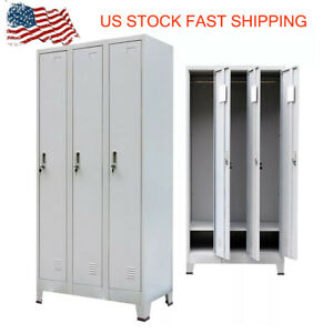 Locker Cabinet W 3 Compartments 35 4 x17 7 x70 9 Gym Sport Changing Room Z6y2