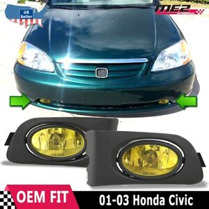 For Honda Civic 01 03 Factory Replacement Fit Fog Lights Wiring Kit Yellow Lens