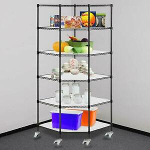 6 tier Wire Shelving Rack Corner Unit Storage Adjustable Shelf Commercial Black