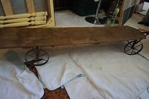 Primitive Wooden Cart With Pulley Rare Wagon