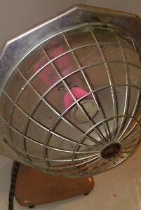 Super Lectric Space Heater Dish W Wire Cage Works Retro Mid Century Modern Vtg