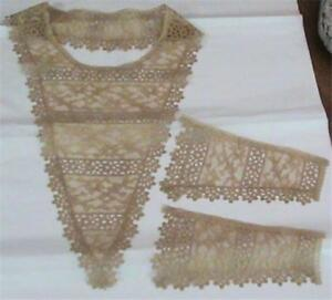 Beautiful Antique Victorian Era Schiffli Lace Bertha Collar Cuffs Set