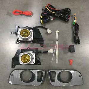 For Honda Civic 92 95 Factory Replacement Fit Fog Lights Wiring Kit Yellow Lens
